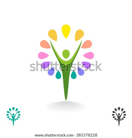 Stylized person figure. Abstract illustration of a flower or tree. Vector logo design template.