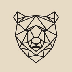 Stylized polygonal bear head.Vector geometric illustration. Simple line design.
