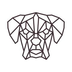 Stylized polygonal dog head.Vector geometric illustration. Simple line design.  Contemporary logo icon on white background