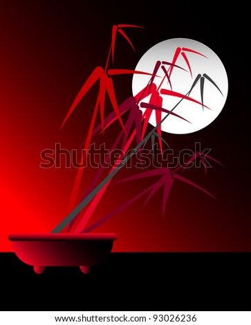 Stylized red bamboo bonsai against a white moon. - stock vector