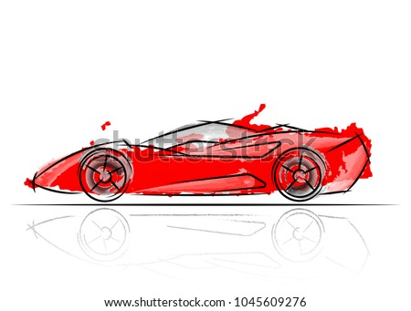 stylized red car design , vector illustration watercolor style a sketch drawing
