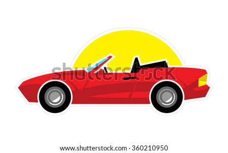Stylized Red Convertible Sports Car with Sun vector icon