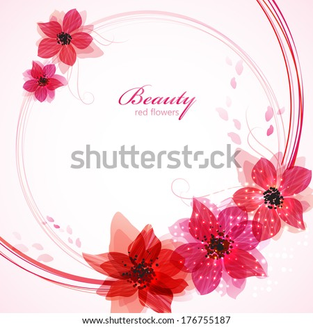 Stylized red flowers Abstract floral background Vector illustration