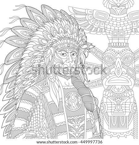 stylized red indian chief