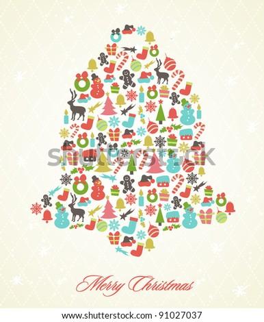 Stylized Retro Christmas Background