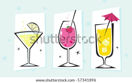 Stylized retro drinks collection isolated white background. Martini and Cocktails glasses. Take hot summer mixed drinks! Vector