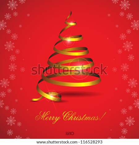 Stylized ribbon Christmas tree. Vector illustration. Eps 10.