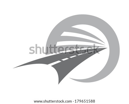 Stylized road with center markings disappearing to infinity or a vanishing point within a circle depicting road travel and transport, vector icon in shades of grey and white