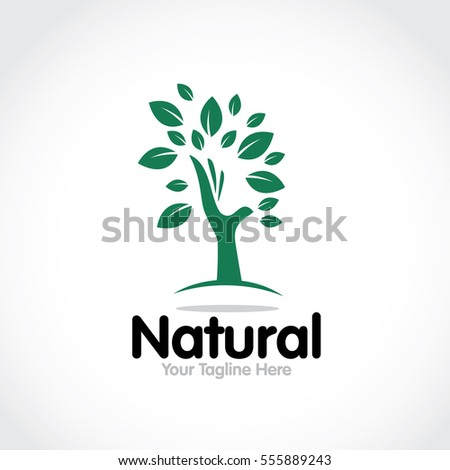 Stylized round shape graphic logo template, vector illustration isolated on white background. Creative logotype template with round foliage, environment, nature, growth concept