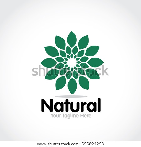 Stylized round shape graphic logo template, vector illustration isolated on white background. Creative logotype template with round foliage, environment, nature, growth concept.