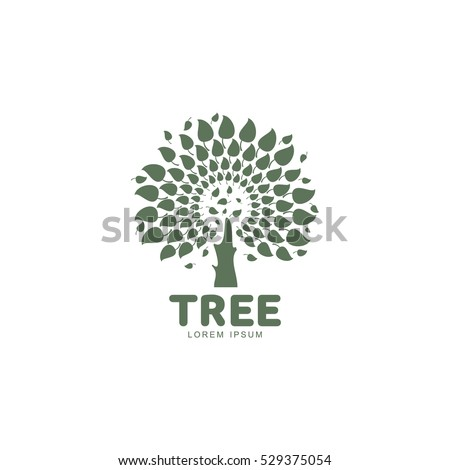 Stylized round shape graphic tree logo template, vector illustration isolated on white background. Creative tree logotype template with round foliage, environment, nature, growth concept