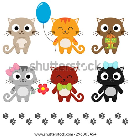 stylized set of cute cartoon