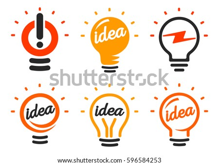 Stylized set of vector lightbulbs, collection colorful logotypes. New idea symbols, flat bright cartoon bulbs. White and orange colors sign. Idea icon, circle logo