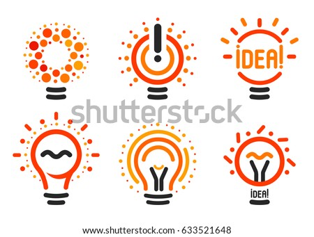Stylized set of vector lightbulbs with line, dots, beam. New idea symbols collection colorful logotypes. Flat abstract bright cartoon bulbs. White, black, orange colors sign. Idea icon, circle logo.