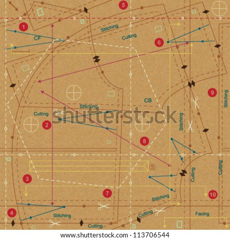 Stylized sewing pattern on paper textured background 3