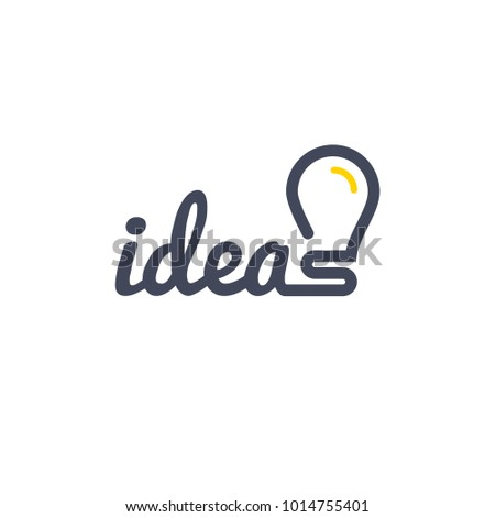 Stylized sign of vector lightbulb logotype. New idea symbol and icon, flat bright cartoon bulb.