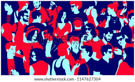 stylized silhouette of crowd of