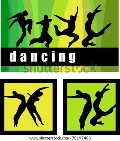 Stylized silhouettes of people dancing.