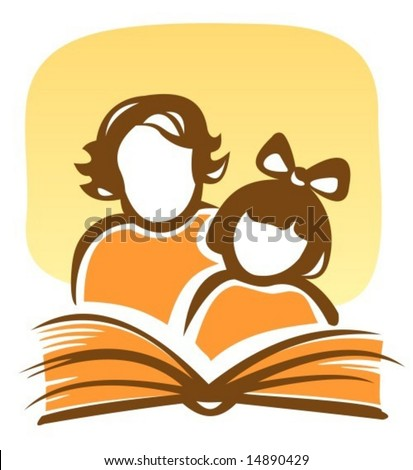 Stylized silhouettes of the girl and the woman, reading the book.