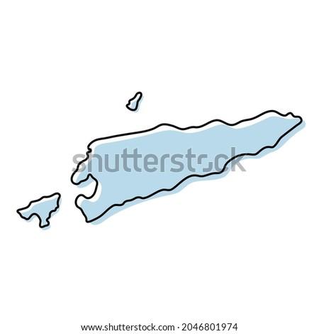 Stylized simple outline map of Timor-Leste icon. Blue sketch map of Timor-Leste vector illustration Foto stock ©