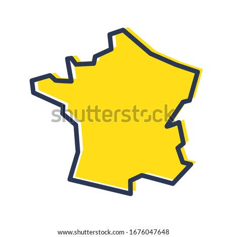 Stylized simple yellow outline map of France