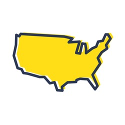 Stylized simple yellow outline map of USA