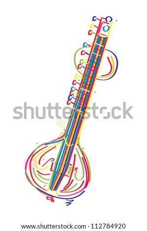 stylized sitar instrument