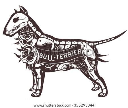 stylized skeleton bull terrier