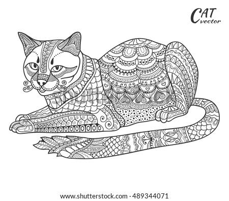 stylized sketch cat hand drawn