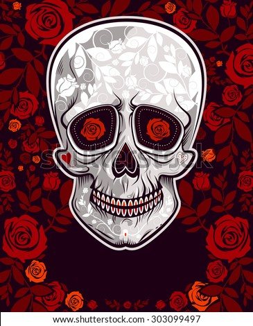 stylized skull with floral