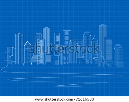 stylized skyscrapers sketch
