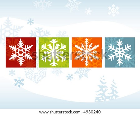 Stylized Snowflakes on a Winter Background. Flexible, easy-edit file - stock vector