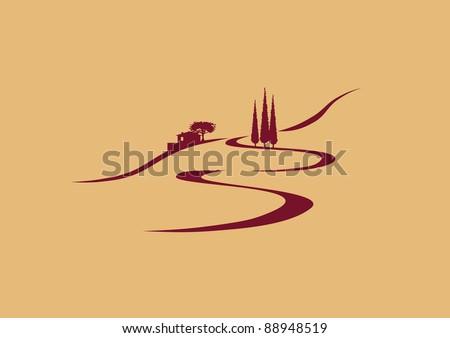 stylized southern european landscape