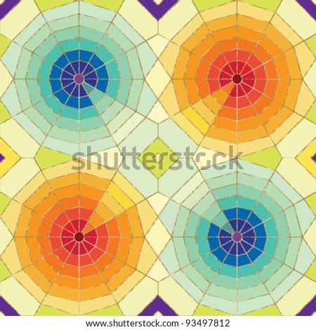 Stylized spider web seamless pattern with colorful tiled background Stained glass effect.