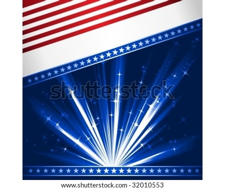 Stylized Stars and Stripes. Patriotic, 4th July celebration background. Use of 6 global linear gradients, 10 global colors. Artwork grouped and layered.