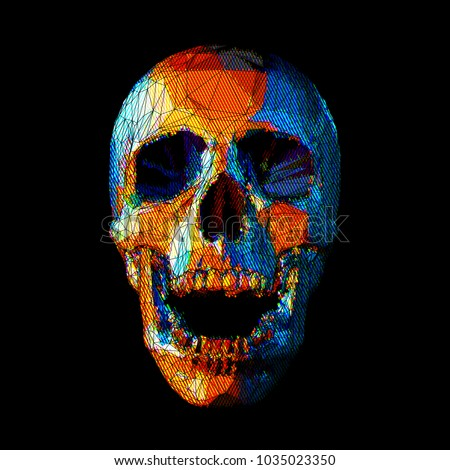 Stock Photo Stylized stripe low poly skull with colorful on dark background