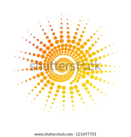 stylized sun of circles vector