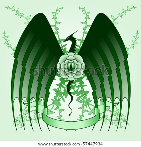 stock vector : Stylized tattoo design featuring dragon and rose vines
