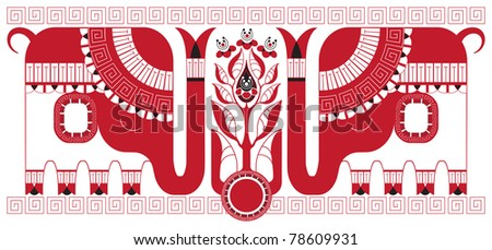 Stylized tea bush and elephants as symbols of the India, which supplies tea isolated on white background