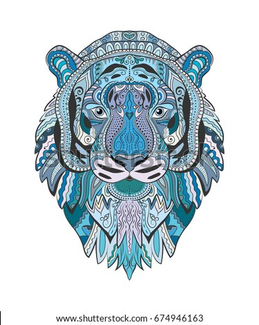 Shutterstock Stylized Tiger face. Hand drawn vector illustration, isolated animal on white background. Doodle art in blue colors for textile print, T-shirt emblem, logo, tattoo. Zen art, isolated design element