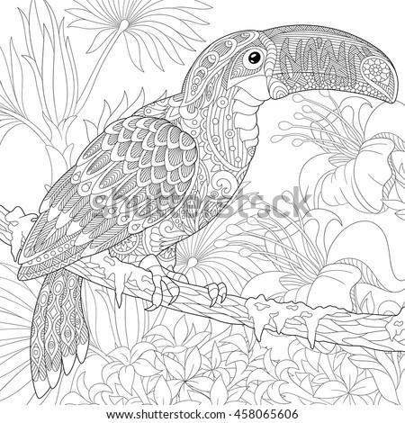 stylized toucan bird sitting on