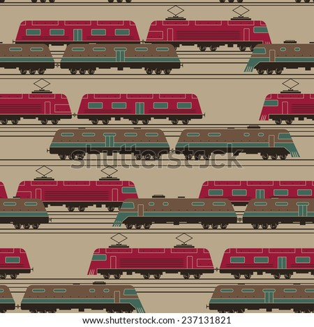 stylized trains with wagons