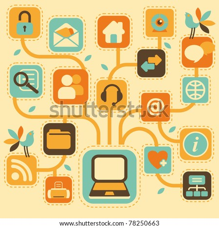 Stylized tree, consisting of computer icons - stock vector
