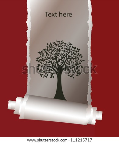 stylized tree under a scrap of paper, cover, card