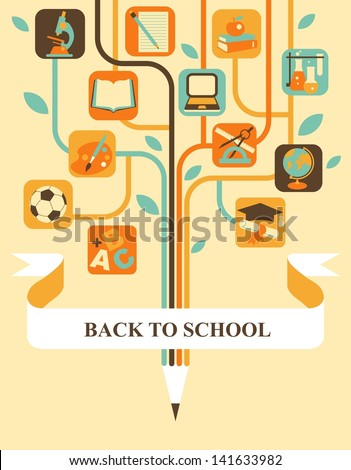 Stylized tree with education icons and banner for your text
