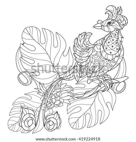 stylized tropical bird of
