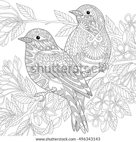 stylized two sparrows sitting