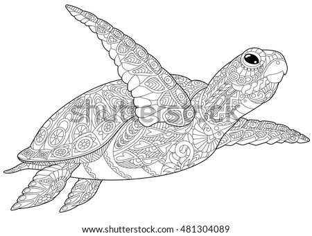 stylized underwater turtle