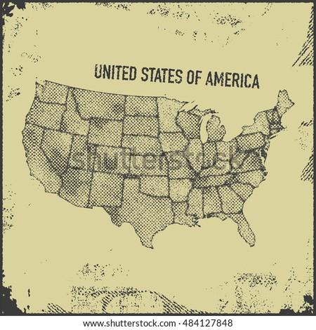 stylized usa map. vector...