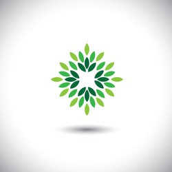 stylized vector green leaves icon arranged in pattern - eco concept vector. This graphic also represents ecological balance, evergreen forests, sustainable development, balance in nature